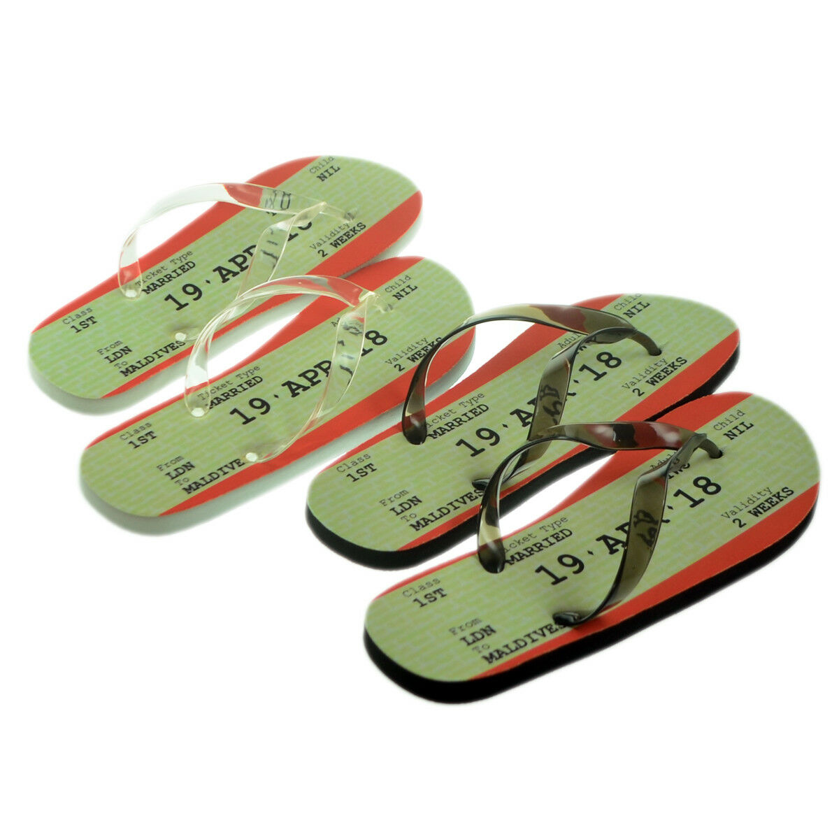 MENS LADIES SET Personalised Honeymoon Wedding Marriage Travel Ticket FLIP FLOPS