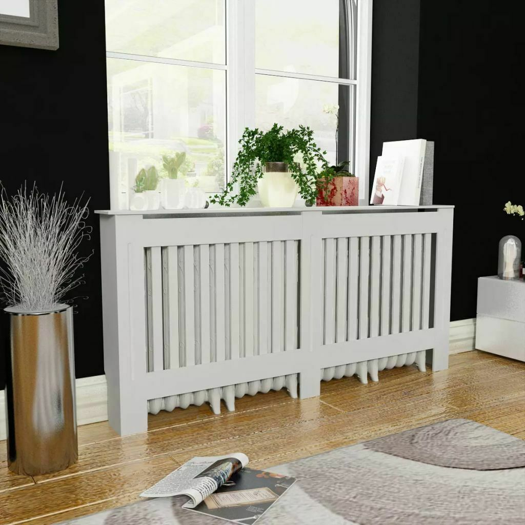 Vidaxl Radiator Cover White Mdf 67 7 Vertical Slats Heating Wall Cabinet Home For Sale Online Ebay
