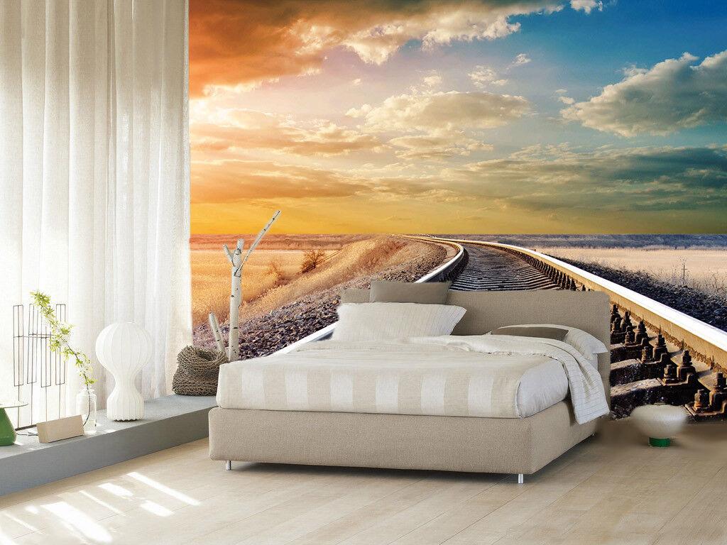 3D Railway Clouds 77 Wall Paper Murals Wall Print Wall Wallpaper Mural AU Kyra