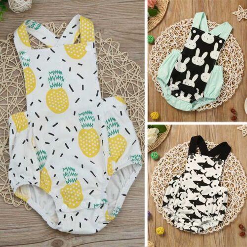 Newborn Baby Kids Boy Girl Sleeveless Romper Jumpsuit Playsuit Outfits Sunsuit