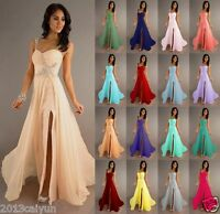 Long chiffon wedding formal party ball gown prom evening bridesmaid dress 6-18