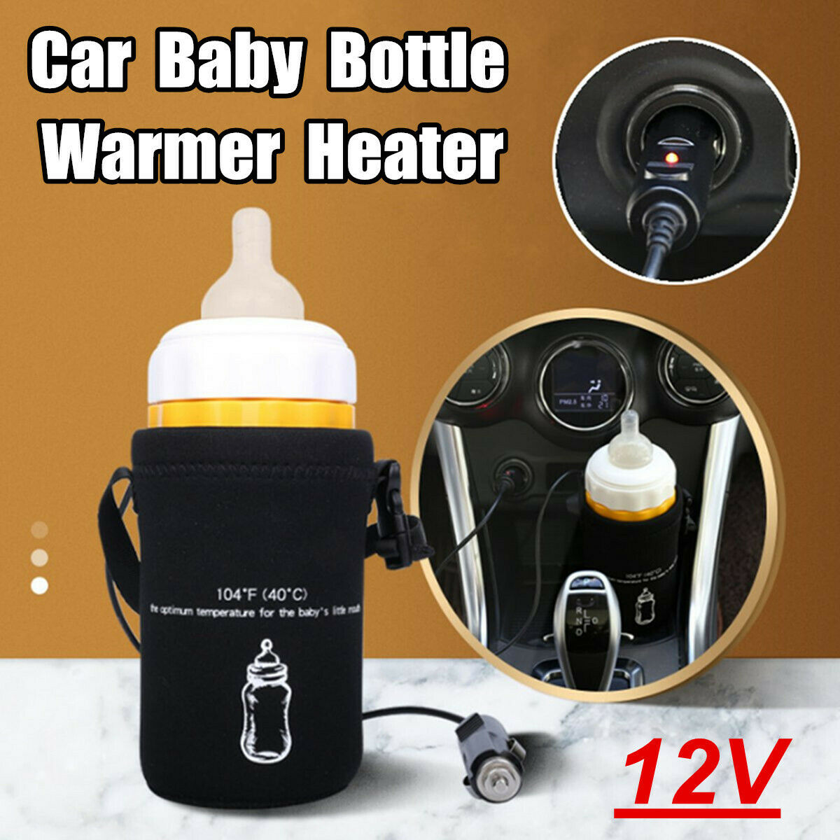 NEW Car Baby Food Milk Bottle Warmer Portable Heater Pouch Constant Temperature
