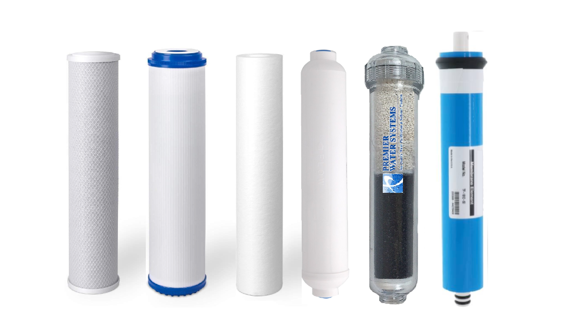 Replacement RO Filters & 50 GPD Membrane for 6 Stage Reverse Osmosis + Alkaline