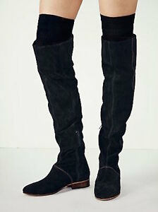 b26143d76d8 Free People Black Suede Grandeur Over the Knee Boots  398 Size 37 7 ...