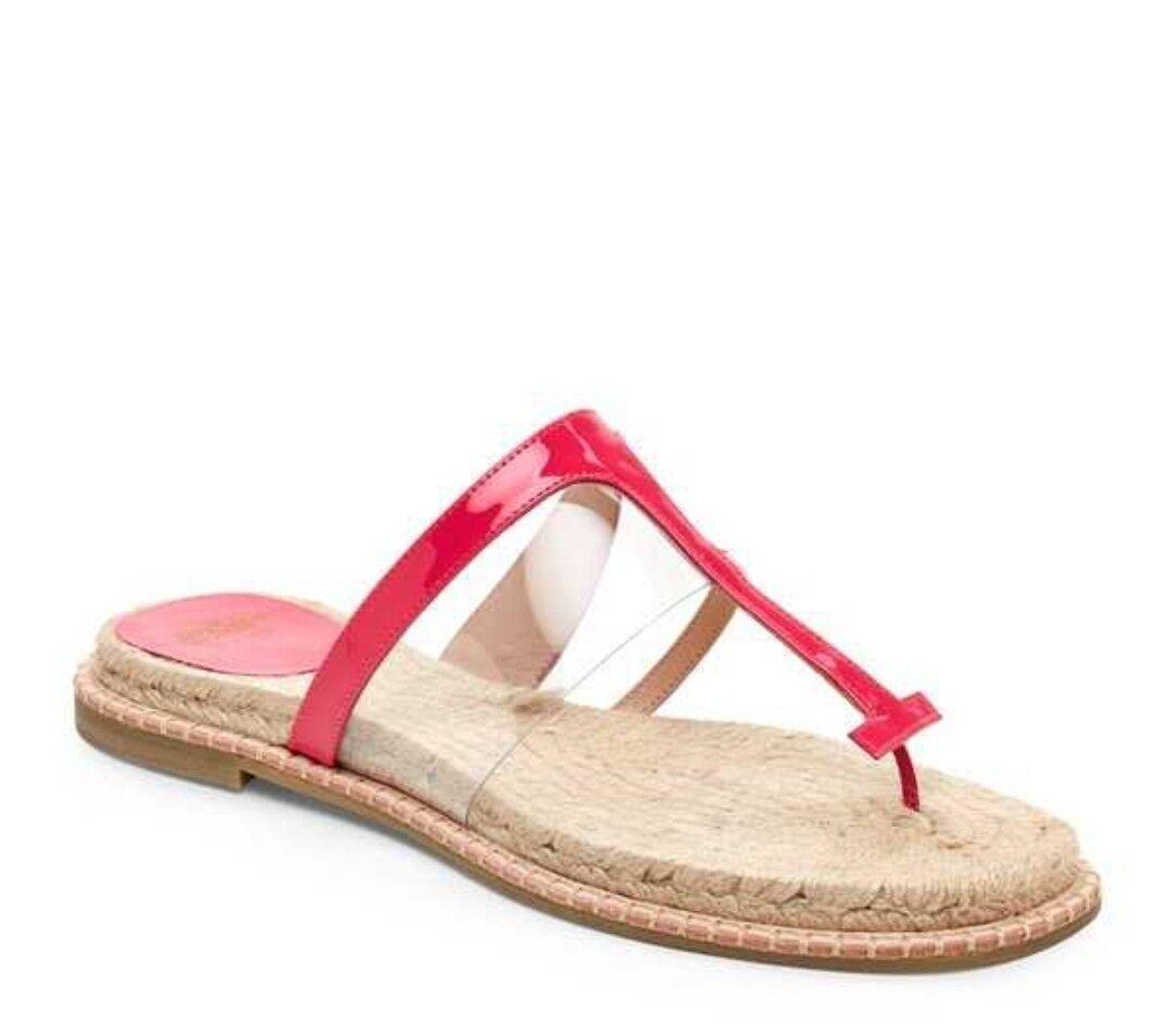 NWT  295 Frances Valentine Hannah FV Espadrille Leather Thong Sandal Pink Sz 10