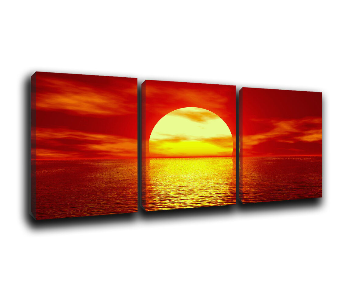 Seascape  Sunset Landscape Canvas Wall Art Print treble box framed Picture 10 n