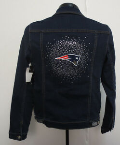 finest selection b046e a97dc Details about NEW ENGLAND PATRIOTS WOMENS MEESH & MIA JACKET DENIM BLUE  JEAN NFL FOOTBALL NEW