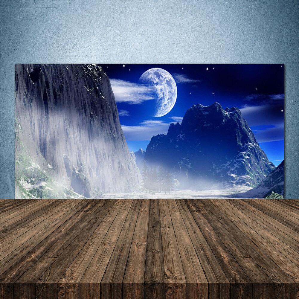Crédence de cuisine en verre Panneau 140x70 Paysage Montagnes Nuit