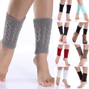 Damen Spitze Strick Beinstulpen Winter Legwarmer Beinwärmer Kurz Stiefel Socken