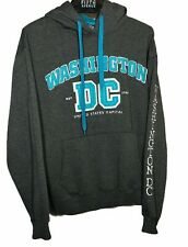 Washington DC Gray Turquoise Hoodie Sweatshirt Unisex Medium Embroidered Letters