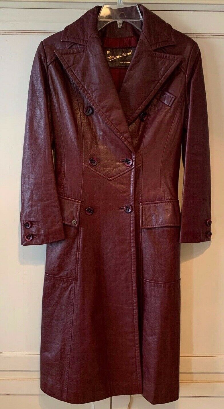 Vintage 70's Etienne Aigner Oxblood Leather Double-Breasted Spy Trench Coat Woma