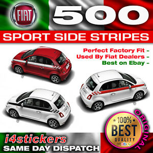 Fiat-500-Sport-Bandes-Laterales-a-damiers-STRIPES-DECAL-Kit-Correct-concessionnaire-Spec