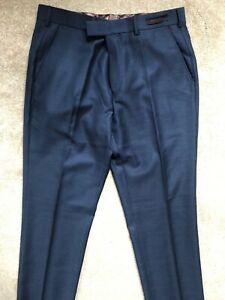 Ted-Baker-Herren-blau-034-bobtro-034-Modern-Fit-100-Wolle-Hose-Pants-32r-NEU