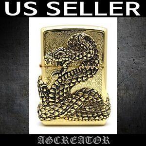 New Japan Korea zippo lighter snake gold plated emblem US SELLER