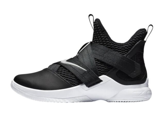 hot sales 52ef0 992d4 Nike Lebron Soldier XII 12 TB Promo Basketball Shoes Black White AT3872-001  Mens