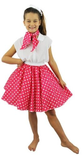 Girls Rosa ANNI 1950 Gonna A Cerchio Cravatta Bianca a Pois Costume Danza Hop