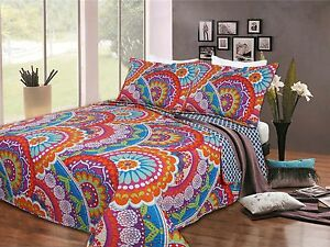 Great-Quality-3-piece-Quilt-Bed-Set-2-Pillow-Cases-and-1-Quilt-3-Sizes-6-COLORS
