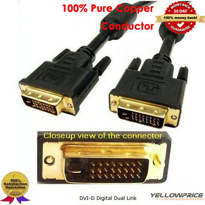 DVI to DVI Port Digital Video Adapter Gold Dual-Link 24+1Male Cable 6-25Ft