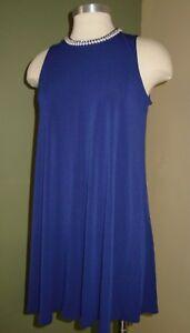 Karl-Lagerfield-Dress-Size-4-Pearl-Neckline-Royal-Blue-Sleeveless-CC06