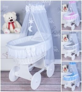 Exclusive Wicker Moses Basket With Bedding Set And Moving