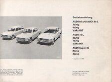 AUDI  60 / 75 / 90  F103 Betriebsanleitung 1969  Bedienungsanleitung Handbuch BA