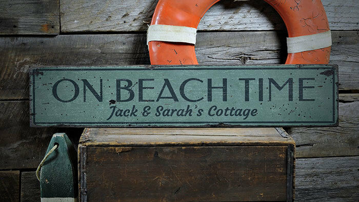Beach Time Sign, On Beach Time Decor -Distressed Wooden Sign ENS1002011