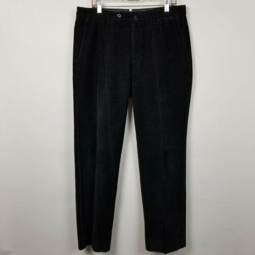 Incotex Mens Flat Front Black Corduroy Dress Pants
