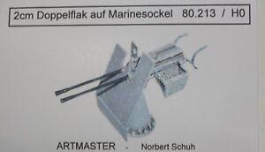 Artmaster-80-213-2-cm-Doppelflak-auf-Marinesockel-Flak-H0-1-87-Bausatz-unbemalt