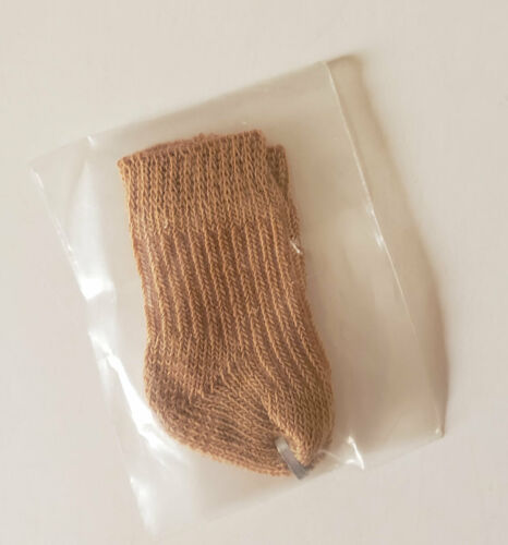 """Heel to Toe Measures 1/"""" Before Stretching Brown Socks For Small Dolls Dolls"""
