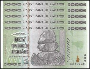 100 Trillion Series AA//2008 10 x Zimbabwe 50  Trillion Dollars Uncirculated