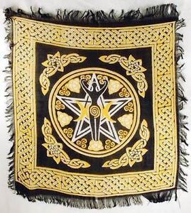 Pentagram Triple Moon Goddess Yellow & Black Altar Cloth!