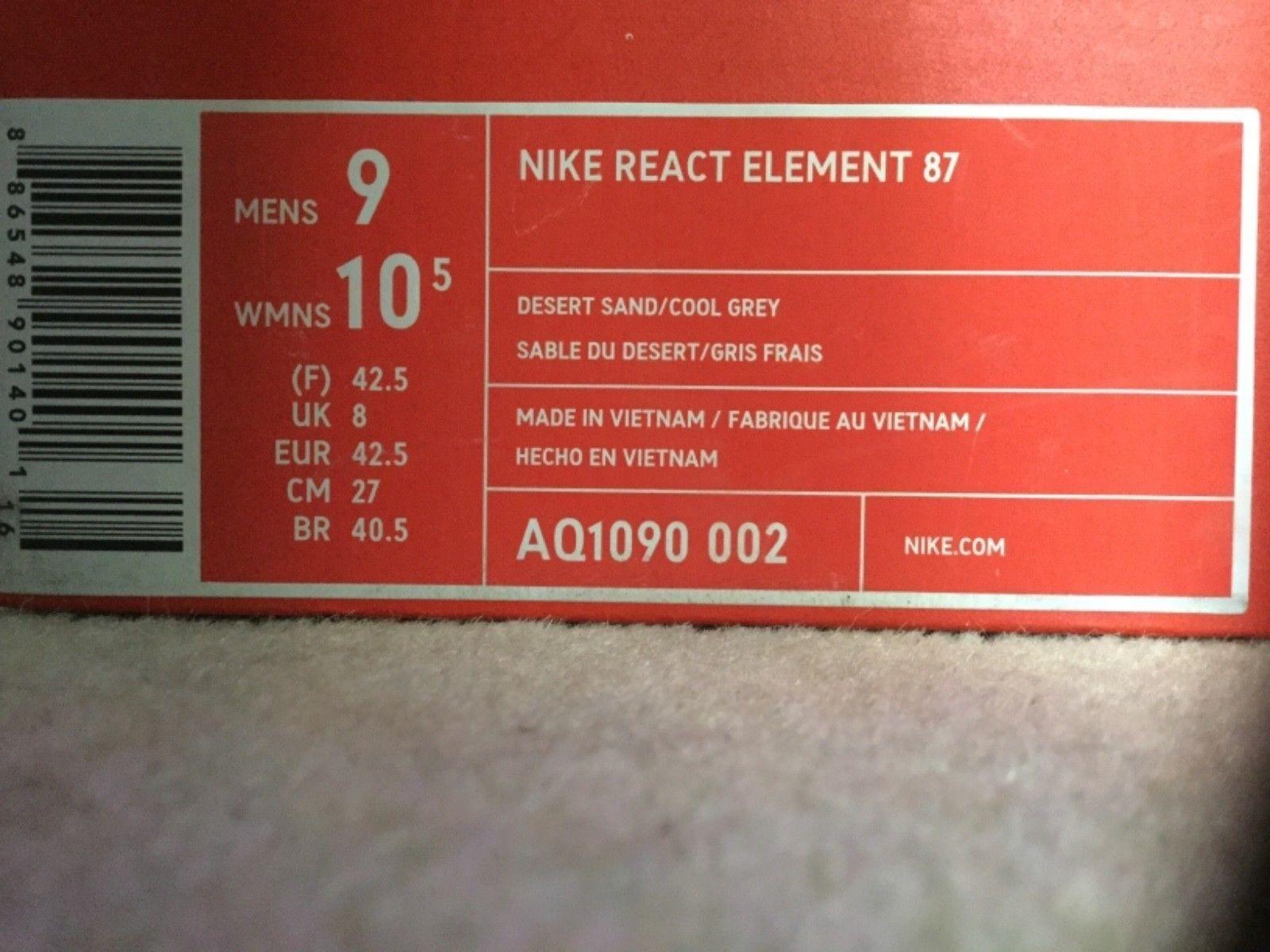Nike reagire elemento 87 87 87 sabbia del deserto   cool grigio dimensioni uk8 us9 bnib scorte morte | Cliente Al Primo  | Uomini/Donne Scarpa  21e476