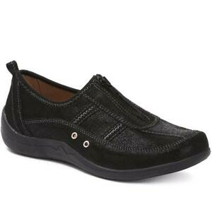 pavers womens casual leather trainers shoes zip arch