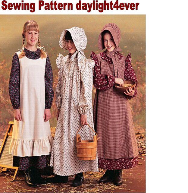 Pioneer Prairie Dress A Pinafore Bonnet Sewing Pattern Mccalls 7231 L Large 14 16
