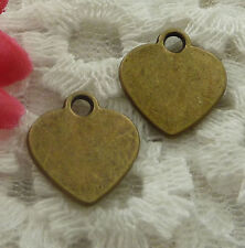 free ship 150 pieces bronze plated heart charms 15x14mm #2264