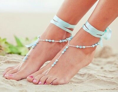 Pair Pearl Pearl Barefoot Sandals Wedding Anklet Bridal Bracelet Ribbon 10TURQ