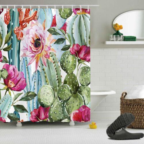 "Red Cactus Flower Waterproof Polyester Shower Curtain /&Mat /&Hooks 60//72//79/"" 4028"