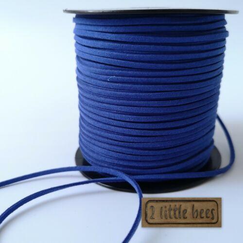 Cordón de cuero Gamuza Plana Azul Tanga Joyas Cadena Craft Terciopelo Hazlo tú mismo UK