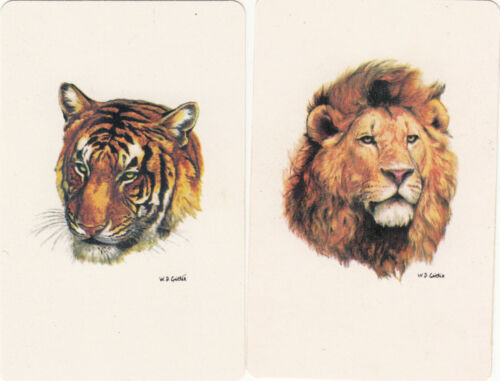 vintage single playing swap cards pair #236 2 JS Artist Lion /& Tiger