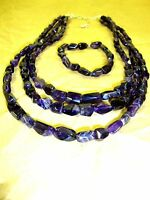 Jay King Dtr Sterling Silver Purple Amethyst Bead Tumbled Necklace Bracelet Set
