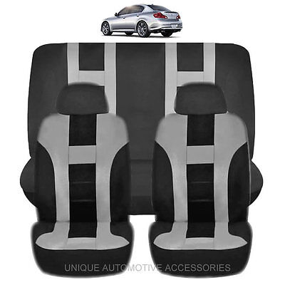 NEW GRAY & BLACK POLYESTER AIRBAG READY SEAT COVERS COMBO 6PC SET FOR CARS 1123