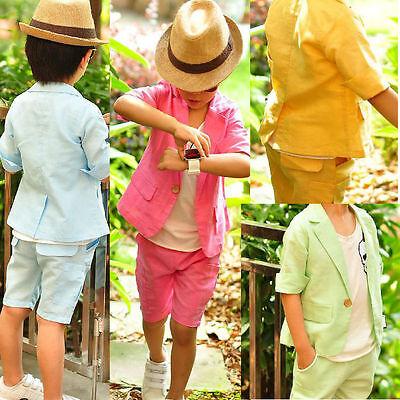 2Pcs Baby Boys Dress Short Sleeve Suit + Shorts Set Kids Clothes Outfits 4Colors