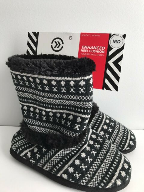Isotoner Holiday Enhanced Heel Cushion Knit Slipper Boot Sz M 65
