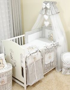 Image is loading LUXURY-10pcs-NURSERY-BABY-BEDDING-SET-CANOPY-ROD- & LUXURY 10pcs NURSERY BABY BEDDING SET/CANOPY/ ROD 4 BABY COT or COT ...