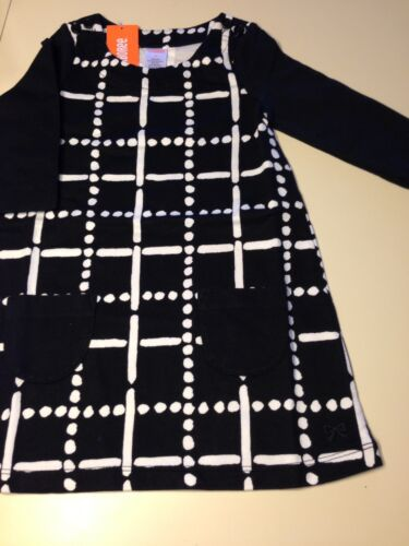 NWT Gymboree Girls Polar Pink Black Dots and Dashes Front Pocket Dress Size 4