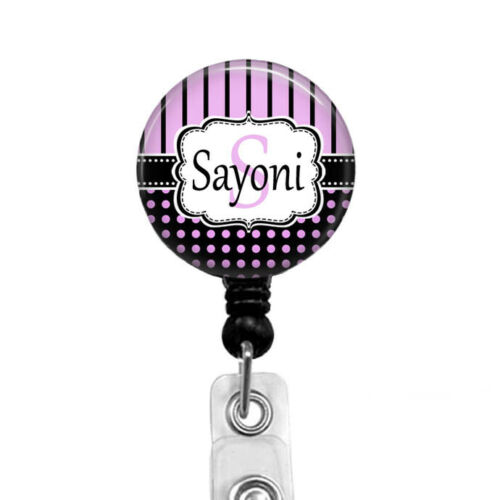 Pink /& Black Personalized Name Badge Reel Holder With Letter of 1st Name 640M