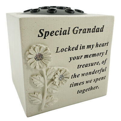 Special Grandad Graveside Memorial Rose Flower Bowl Verse Grave Vase Loved Garde