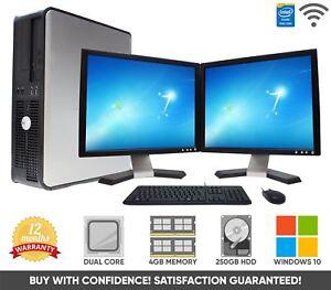 Dell-Barato-Pantalla-Dual-17-034-TFT-Computadora-Pc-De-Escritorio-250-GB-4-GB-Windows-10-Wifi