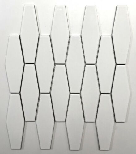 Elongated White Hexagon Porcelain Mosaic Wall Tile Kitchen Backsplash Bath by Squarefeet Depot
