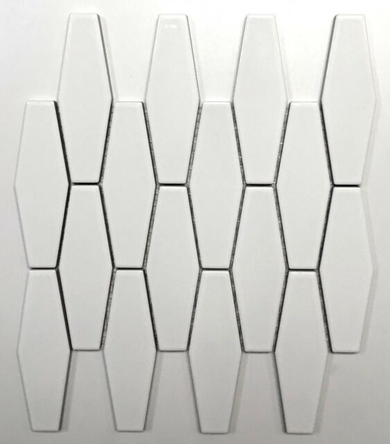 Elongated White Hexagon Porcelain Mosaic Wall Tile Kitchen